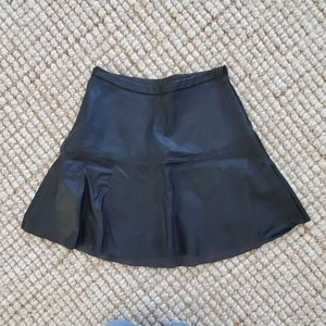 Black Vegan Leather Peplum Mini Skirt